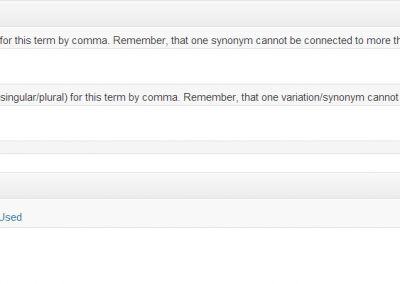Synonyms can also be added to the infotip window